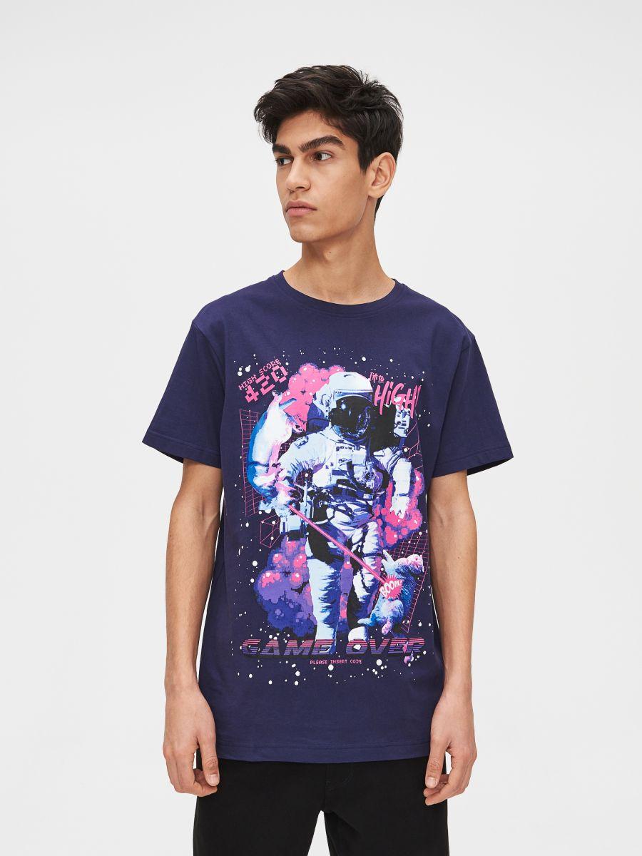 Tricou cu imprimeu Space - BLEUMARIN - XP523-59X - Cropp - 4