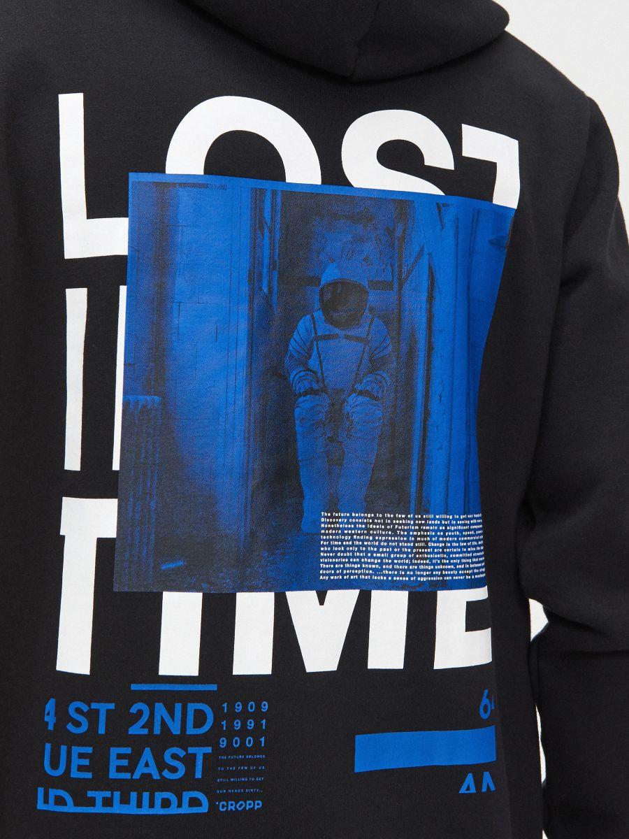 Bluză cu inscripție la spate - NEGRU - YF241-99X - Cropp - 3