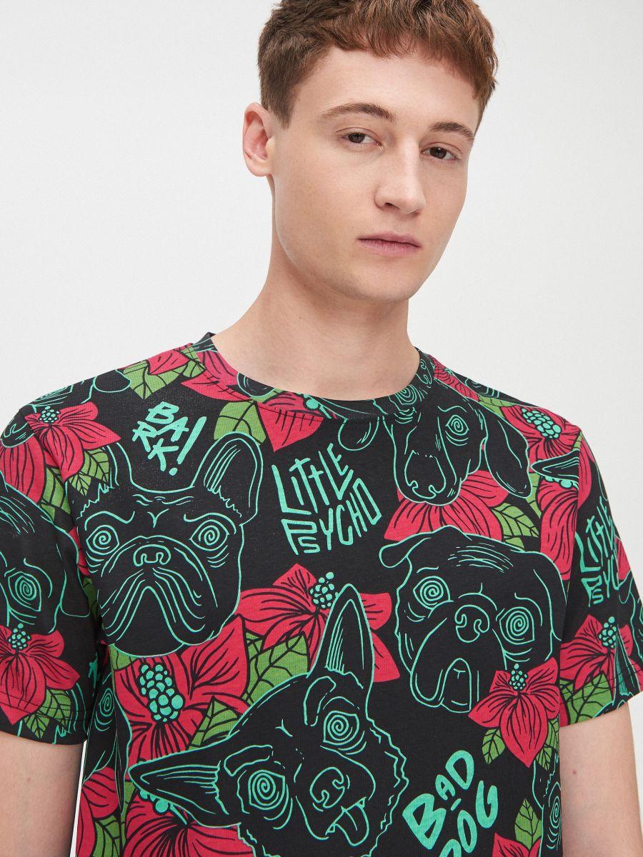 Tricou cu imprimeu cu câini  - NEGRU - YH721-99X - Cropp - 1