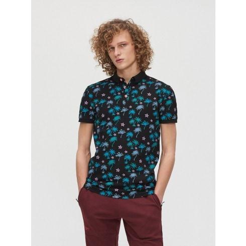 Tricou polo cu imprimeu cu palmieri