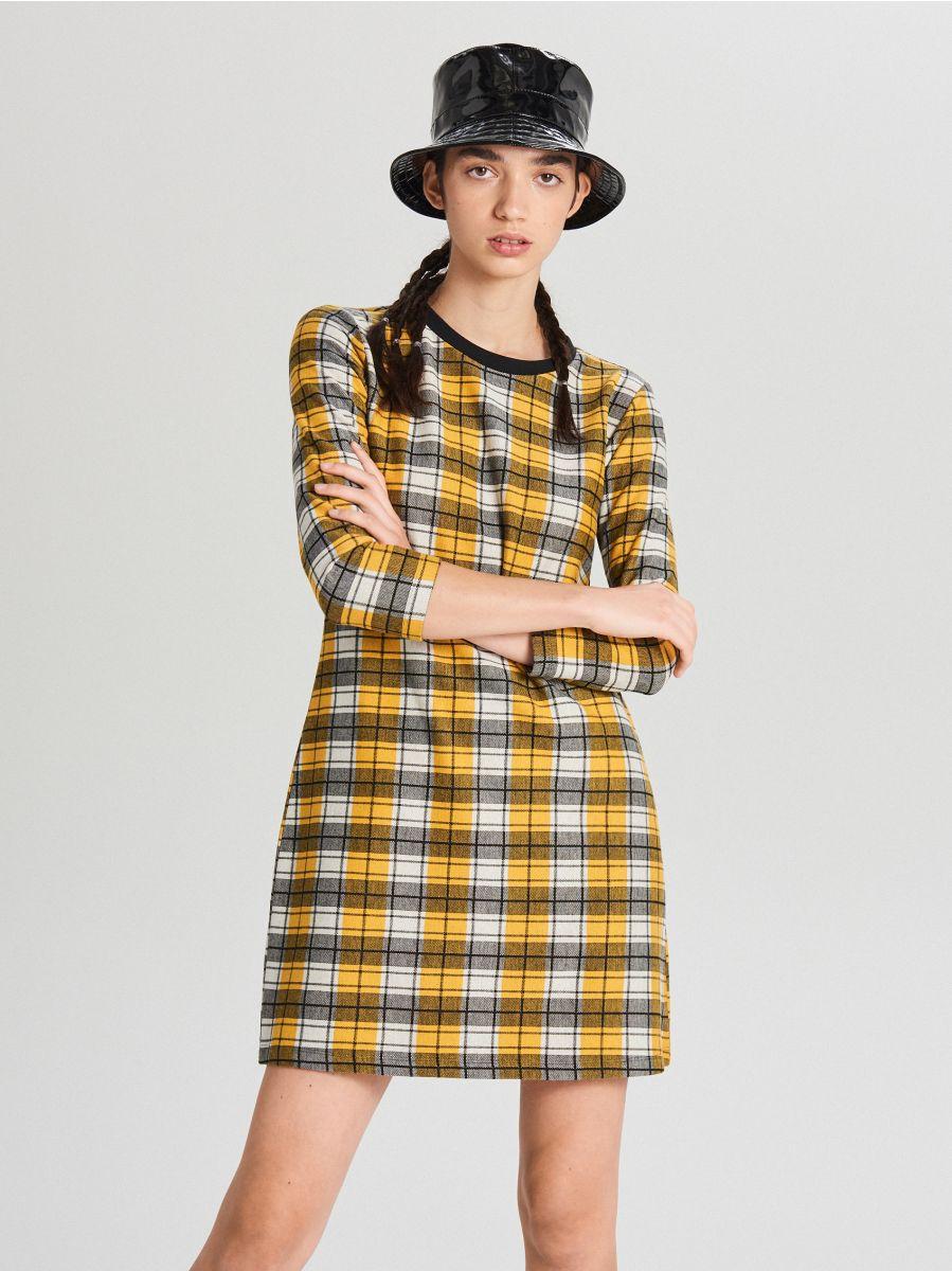 Kockás ruha - FEKETE - WF670-99X - Cropp - 1