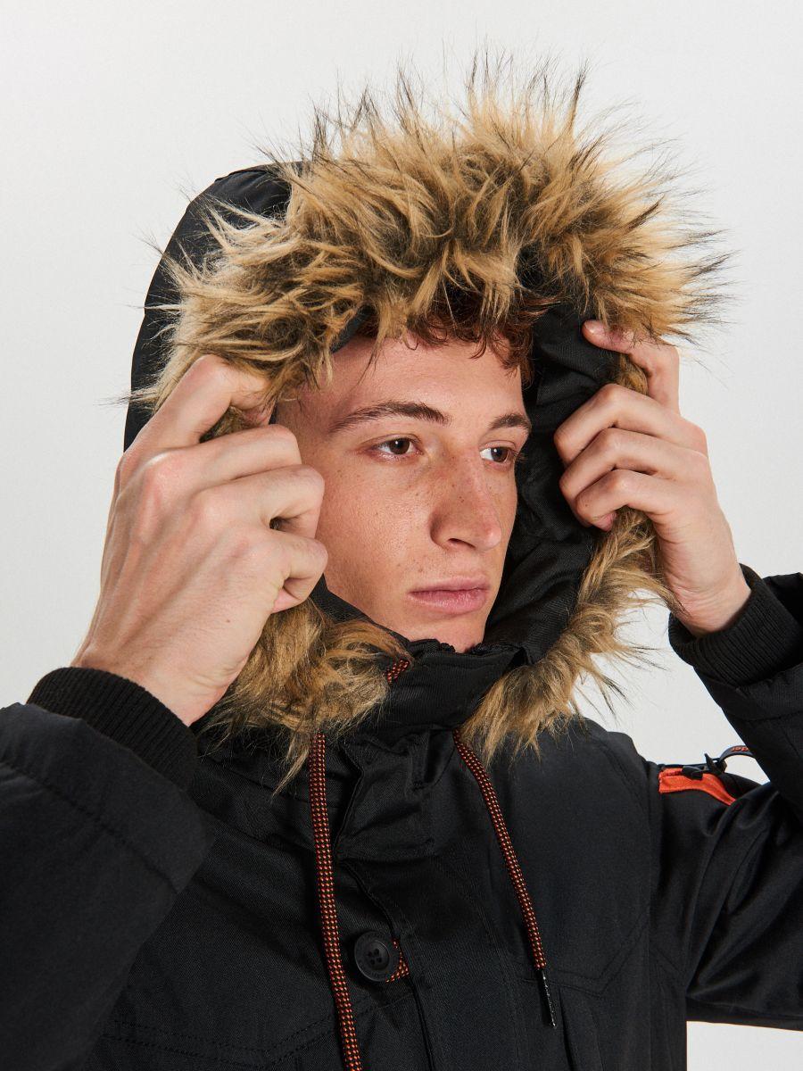 Kapucinis téli kabát - FEKETE - WA084-99X - Cropp - 6