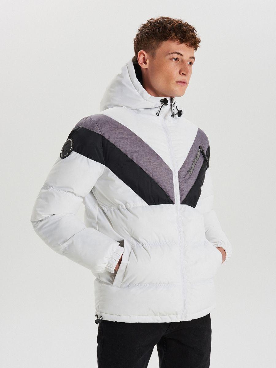 Téli dzseki kontrasztos színsávokkal - FEHÉR - WC155-00X - Cropp - 1