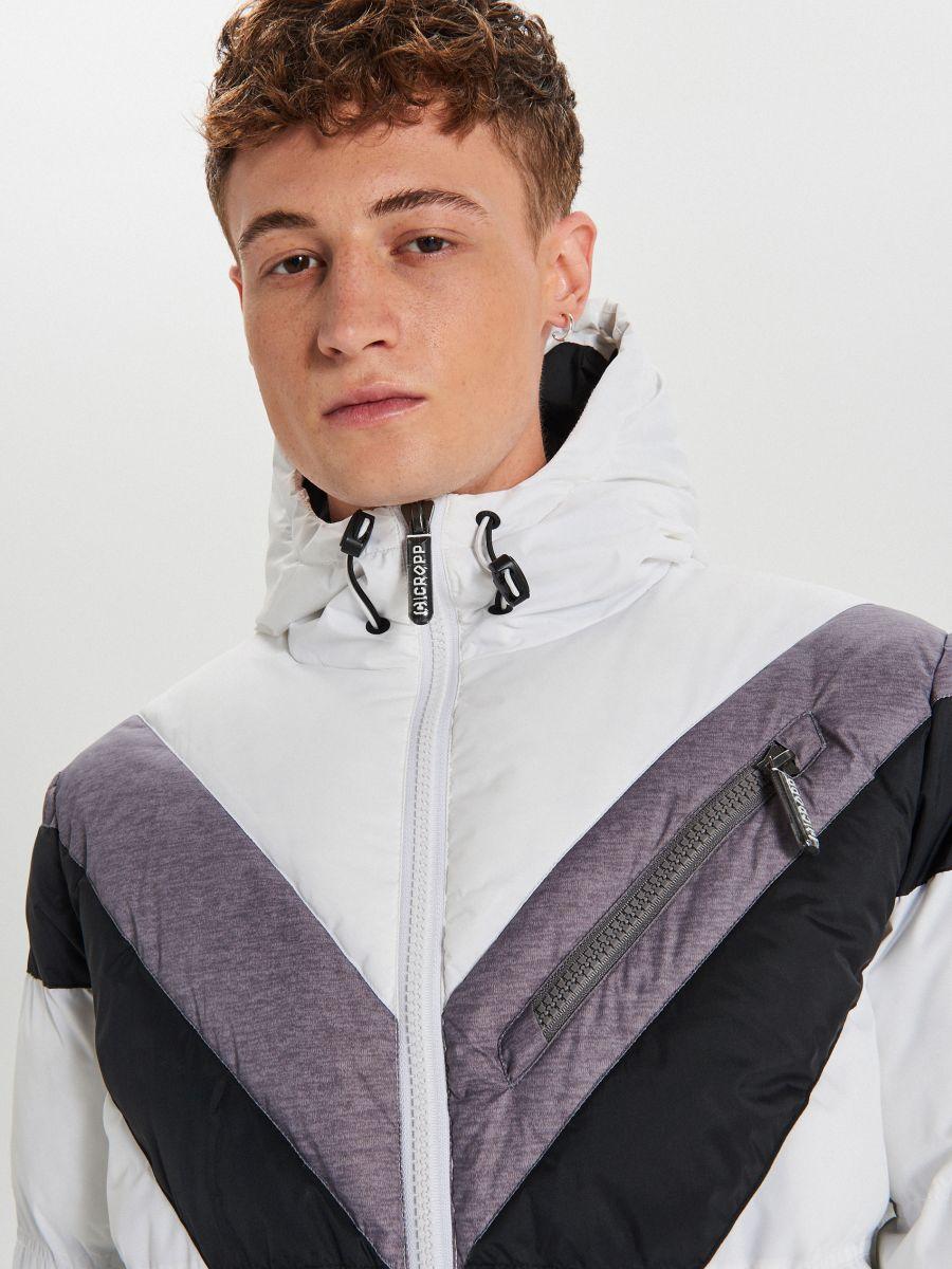 Téli dzseki kontrasztos színsávokkal - FEHÉR - WC155-00X - Cropp - 3