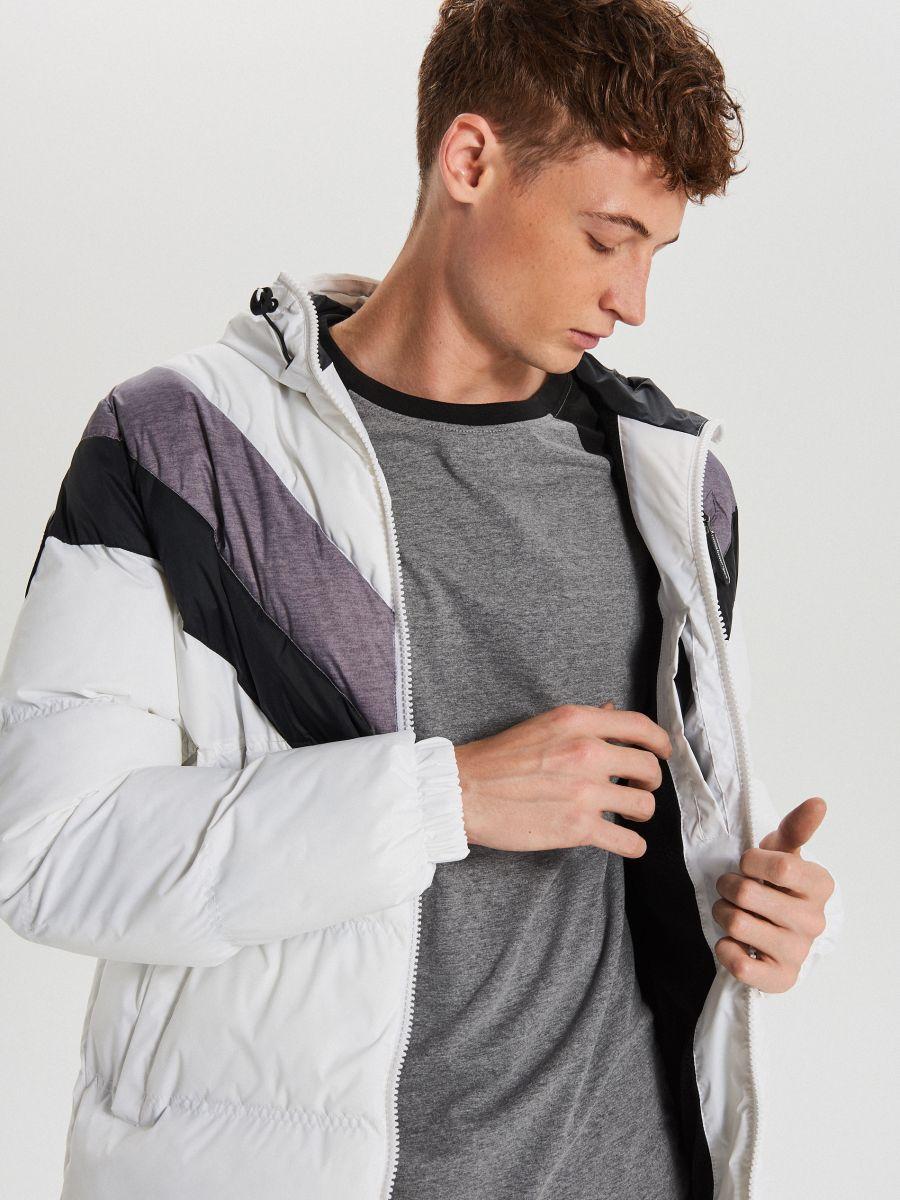 Téli dzseki kontrasztos színsávokkal - FEHÉR - WC155-00X - Cropp - 4