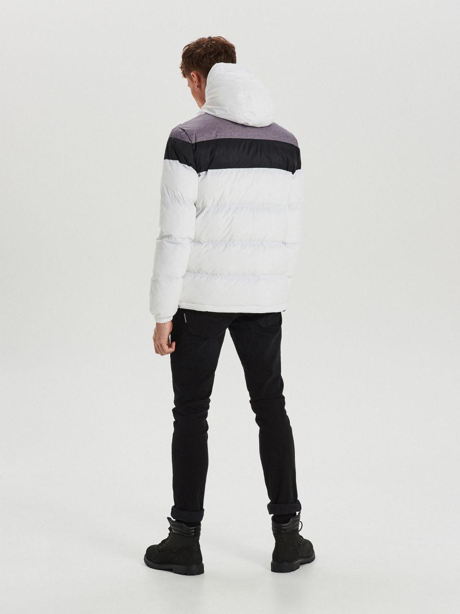 Téli dzseki kontrasztos színsávokkal - FEHÉR - WC155-00X - Cropp - 6