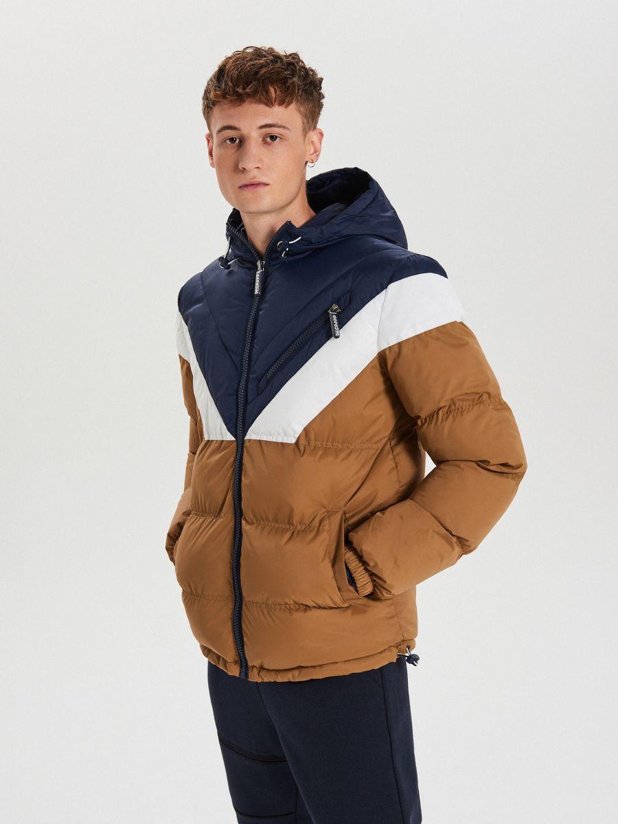Téli dzseki kontrasztos színsávokkal - BARNA - WC155-82X - Cropp - 1