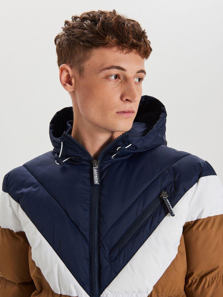 Téli dzseki kontrasztos színsávokkal - BARNA - WC155-82X - Cropp - 3