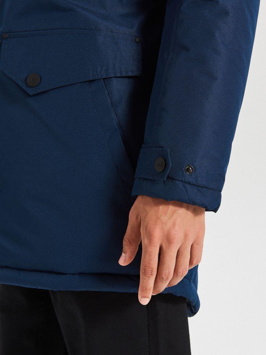 Meleg dzseki műszőrme kapucnival - TENGERÉSZKÉK - WC156-59X - Cropp - 5