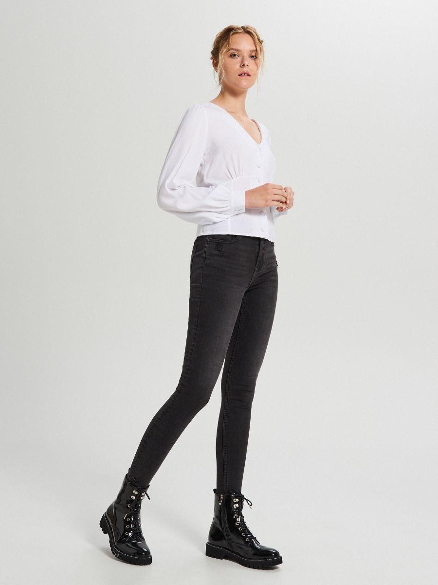 Skinny mid waist farmer - FEKETE - WC912-99J - Cropp - 1