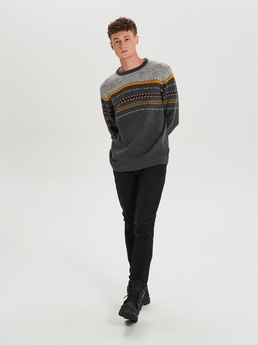 Gyapjúszálas pulóver - SZÜRKE - WG360-90M - Cropp - 2