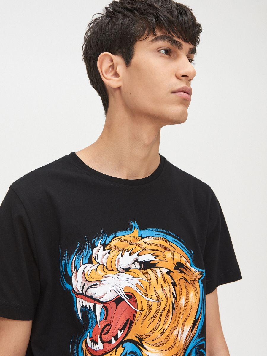 Tigrises póló - FEKETE - XP512-99X - Cropp - 1