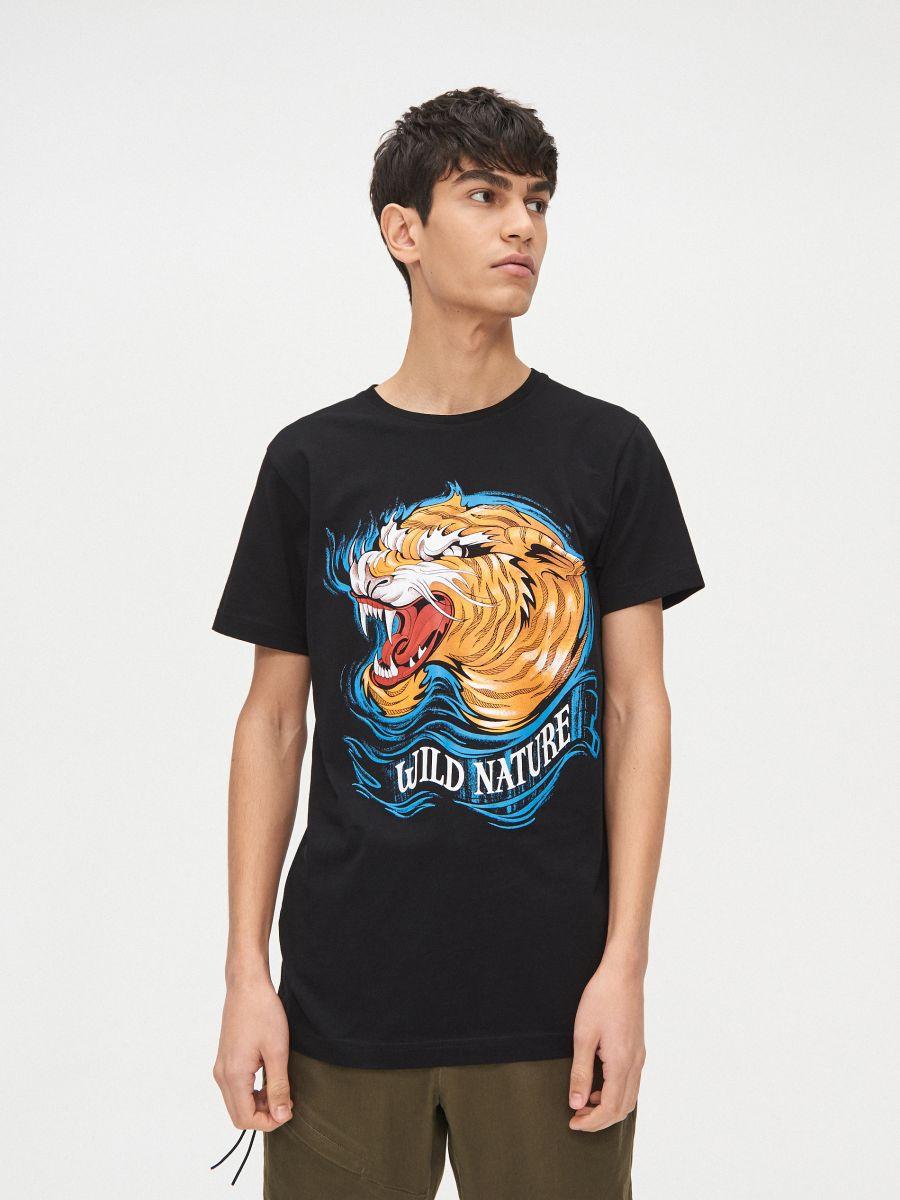 Tigrises póló - FEKETE - XP512-99X - Cropp - 3