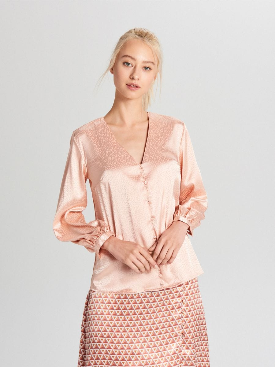 Satin blouse - ROSA - VY067-03X - Cropp - 1