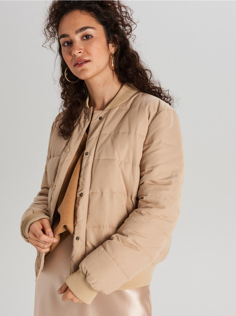 Quilted bomber jacket - BEIGE - WG293-80X - Cropp - 2