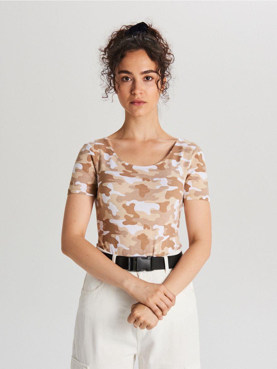 Short-sleeved body - BEIGE - WH177-08X - Cropp - 1