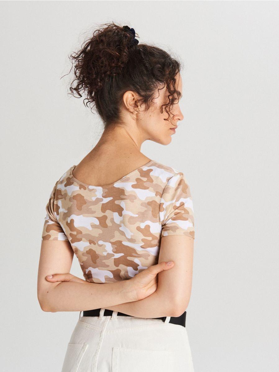 Short-sleeved body - BEIGE - WH177-08X - Cropp - 4
