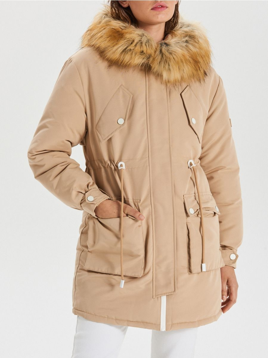 Jacket with detachable eco faux fur - BEIGE - WS140-08X - Cropp - 5