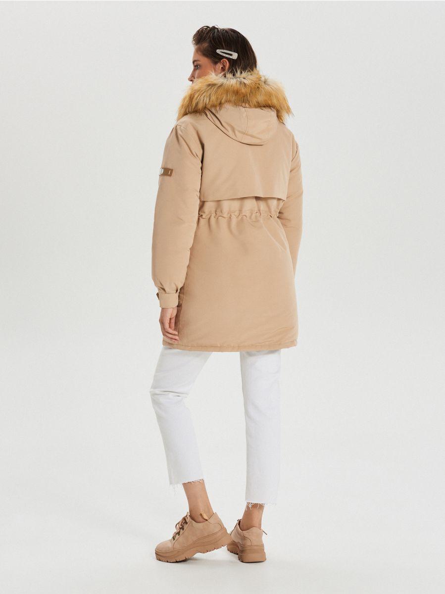 Jacket with detachable eco faux fur - BEIGE - WS140-08X - Cropp - 8