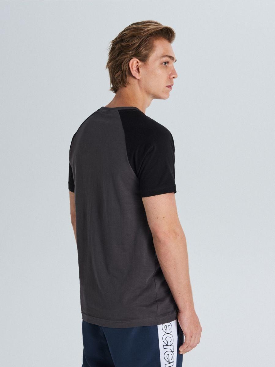 T-shirt with raglan sleeves - GRAU - WS394-90X - Cropp - 4