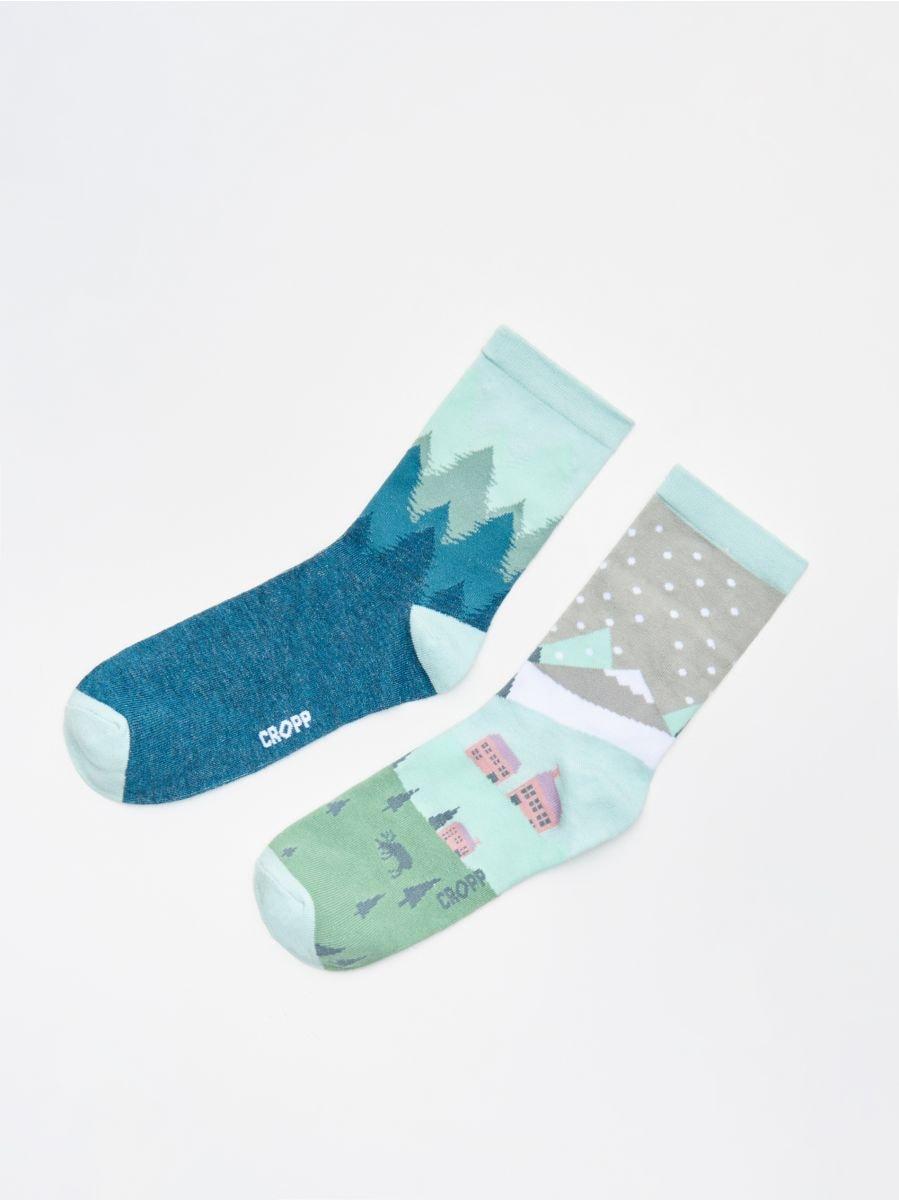Multicoloured socks 2 pack - GRÜN - WX943-77X - Cropp - 1