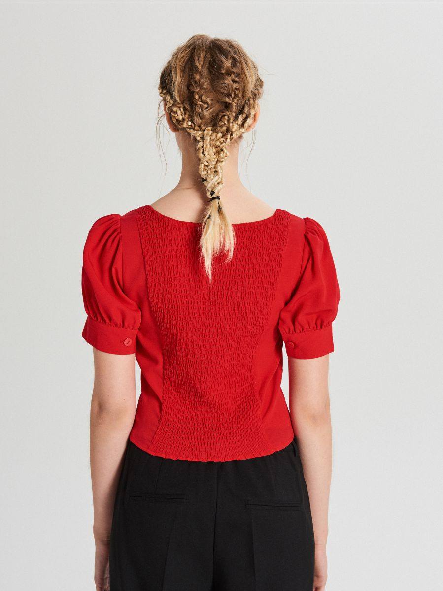 Blouse with puff sleeves - ROT - WY817-33X - Cropp - 3