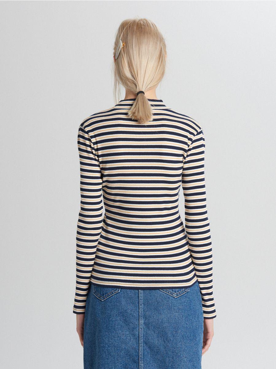 Mock turtle-neck blouse - MARINEBLAU - WZ195-59X - Cropp - 4