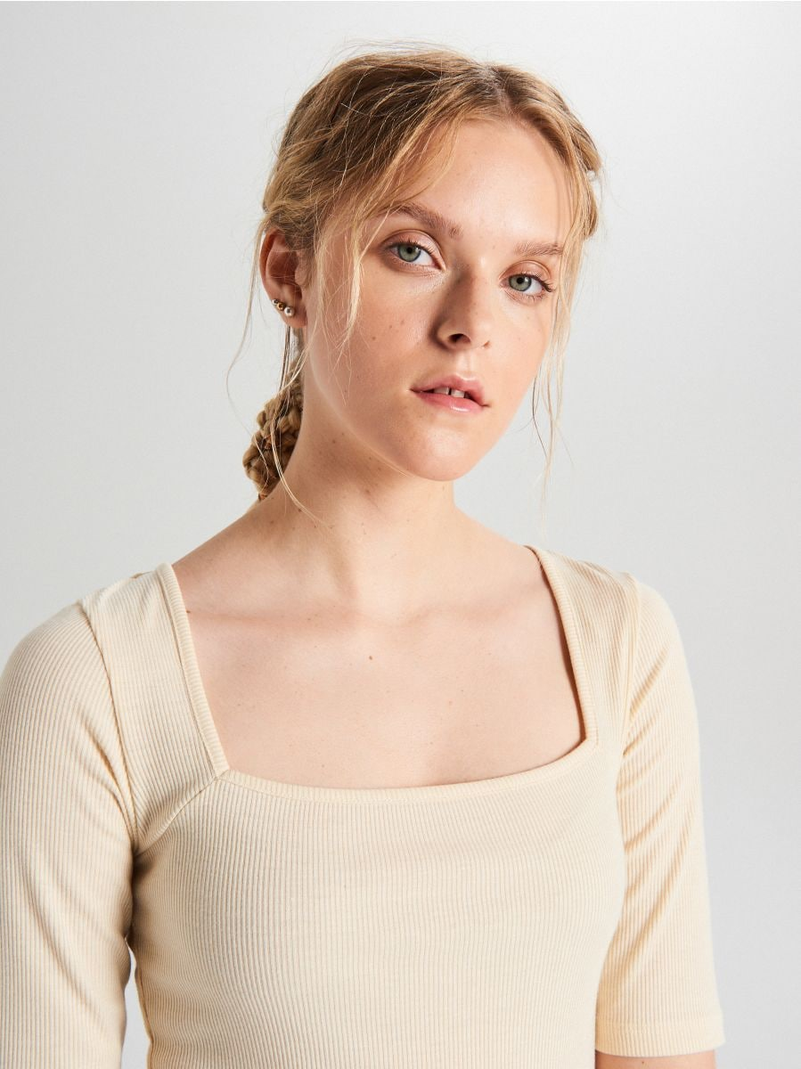Square neck body - ELFENBEIN - WZ889-01X - Cropp - 3