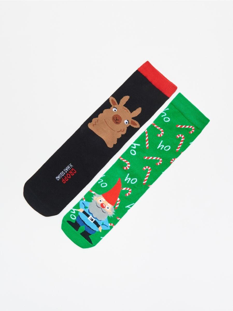Christmas motif socks 2 pack - GRÜN - XI732-77X - Cropp - 1