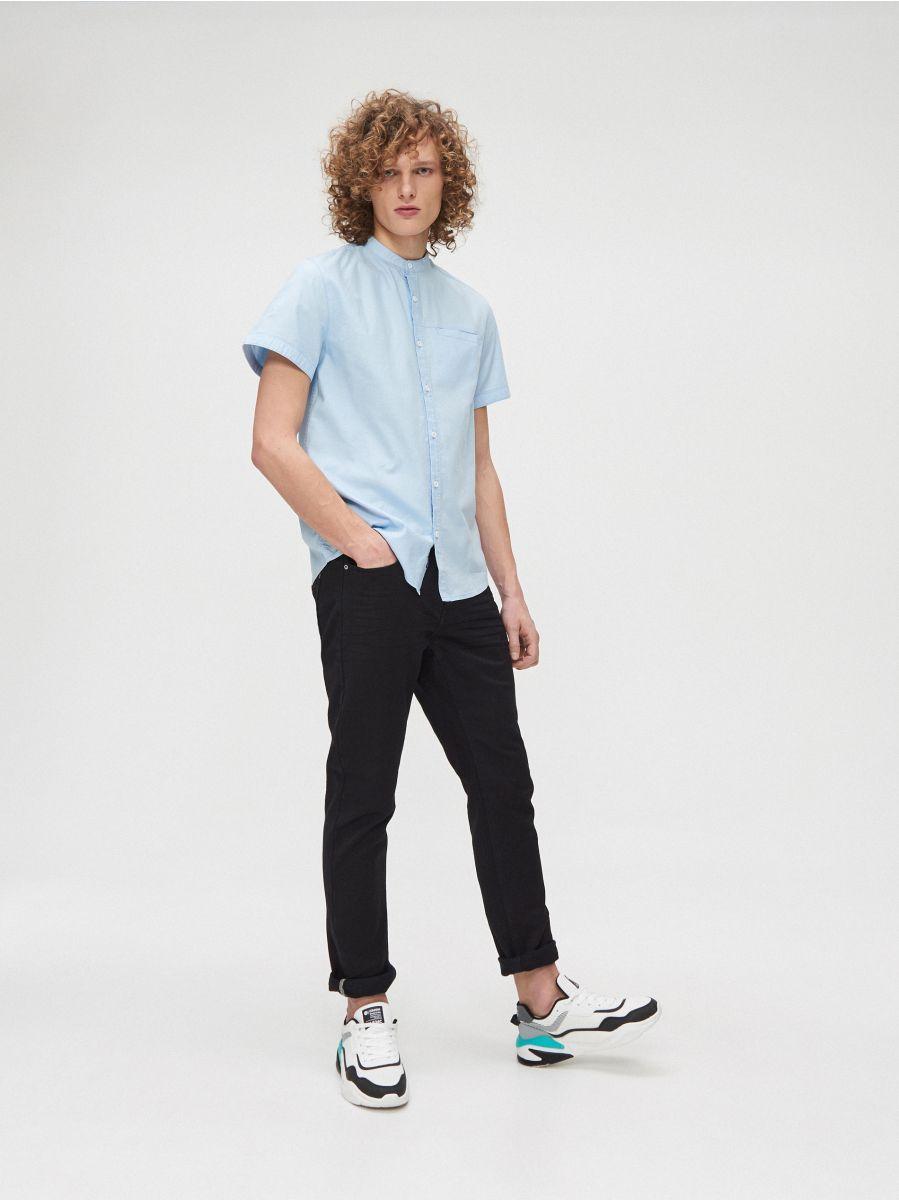 Cotton shirt with standing collar - BLAU - XT948-50X - Cropp - 1