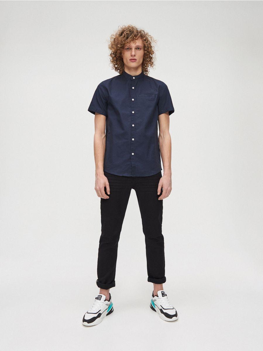 Cotton shirt with standing collar - MARINEBLAU - XT948-59X - Cropp - 1