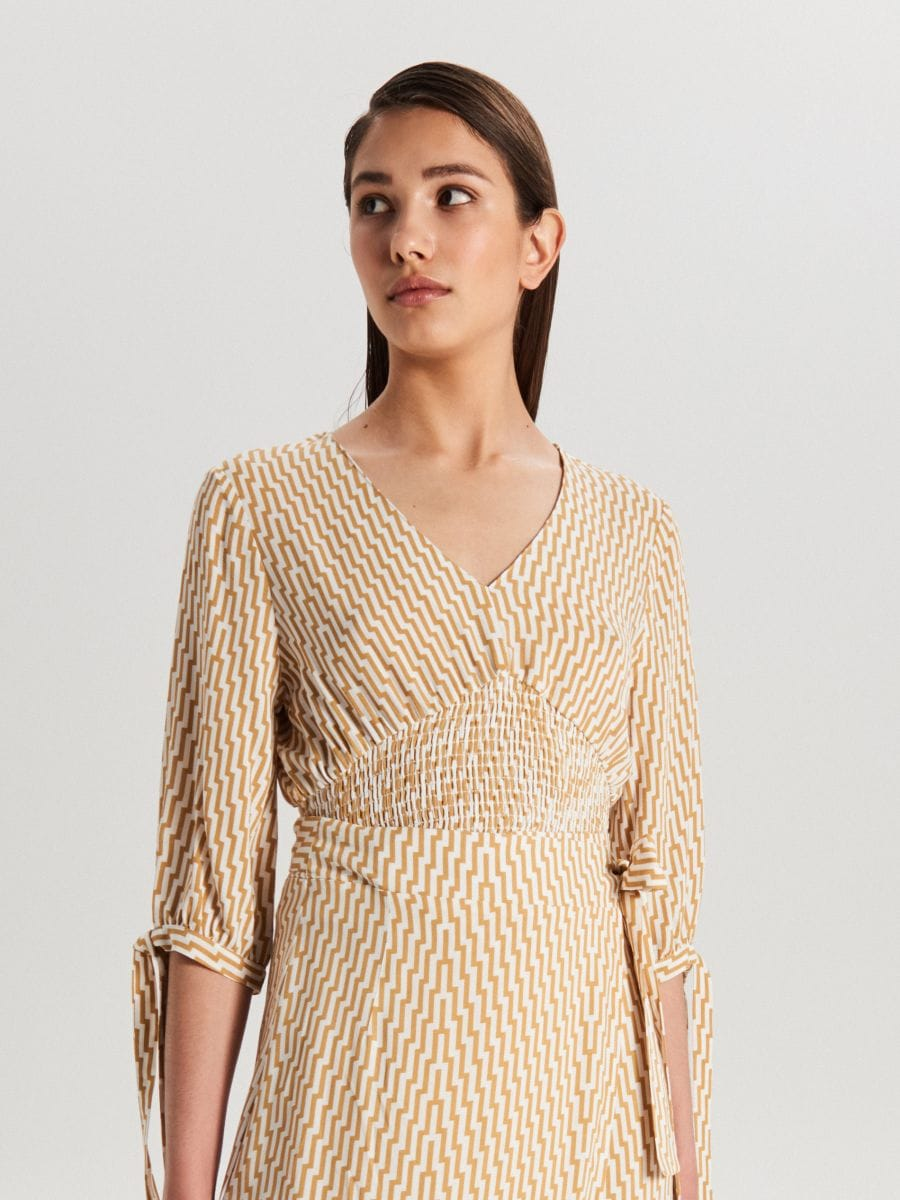 Blouse with elastic detail - BEIGE - WB564-08X - Cropp - 2