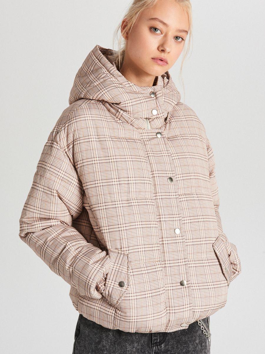Check puffer jacket - BEIGE - WB865-08X - Cropp - 1