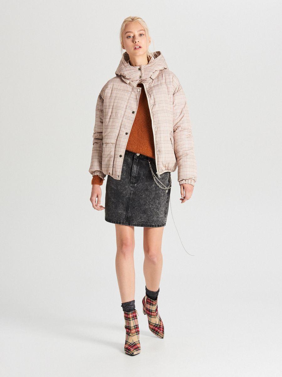 Check puffer jacket - BEIGE - WB865-08X - Cropp - 2
