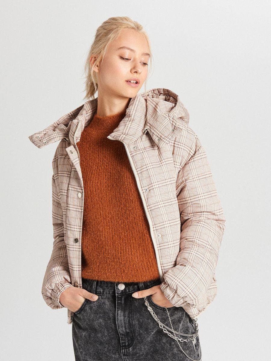 Check puffer jacket - BEIGE - WB865-08X - Cropp - 4