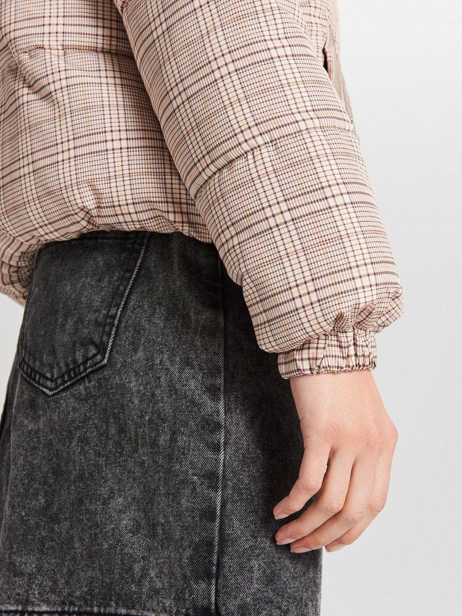 Check puffer jacket - BEIGE - WB865-08X - Cropp - 6
