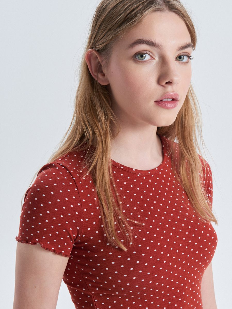Blouse with polka dots - ROT - WC596-33X - Cropp - 1
