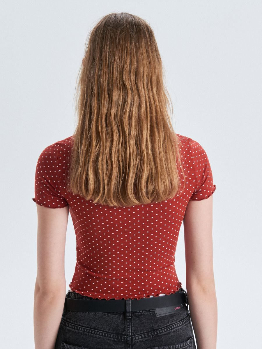 Blouse with polka dots - ROT - WC596-33X - Cropp - 3