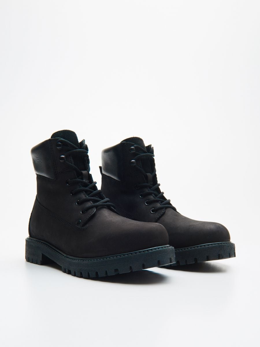 Leather hiking boots  - SCHWARZ - WE897-99X - Cropp - 3
