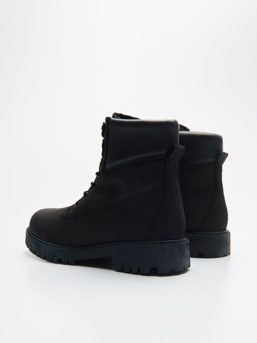 Leather hiking boots  - SCHWARZ - WE897-99X - Cropp - 4