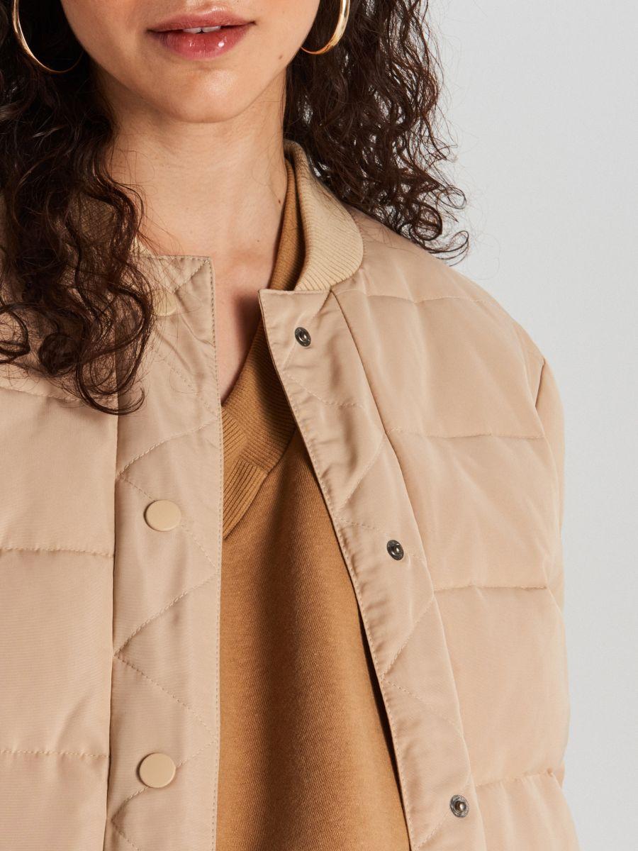 Quilted bomber jacket - BEIGE - WG293-80X - Cropp - 4