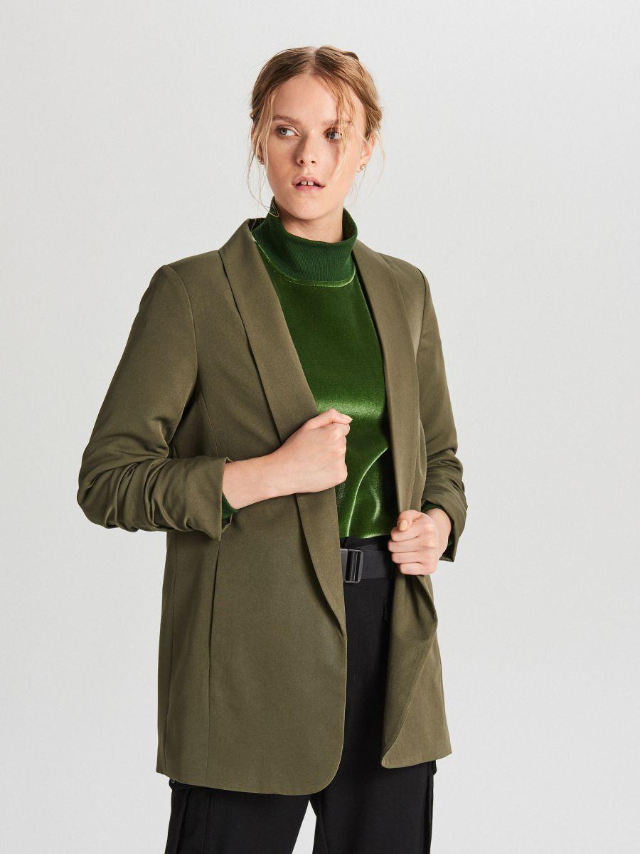 Long blazer - KHAKIGRÜN - WG319-78X - Cropp - 2