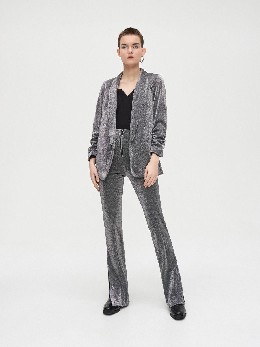 Longline blazer with gathered sleeves - GRAU - WG335-85X - Cropp - 3