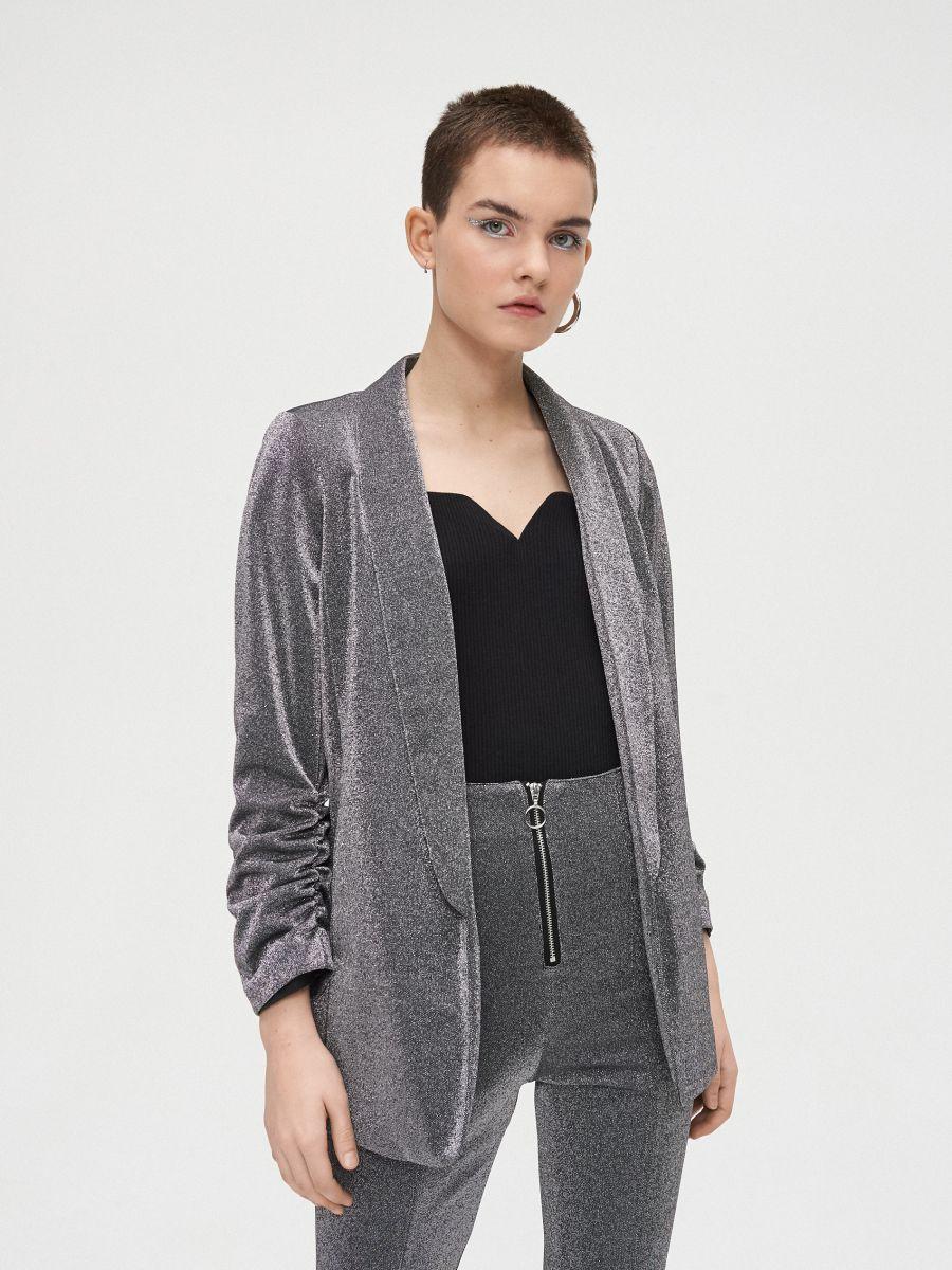 Longline blazer with gathered sleeves - GRAU - WG335-85X - Cropp - 1