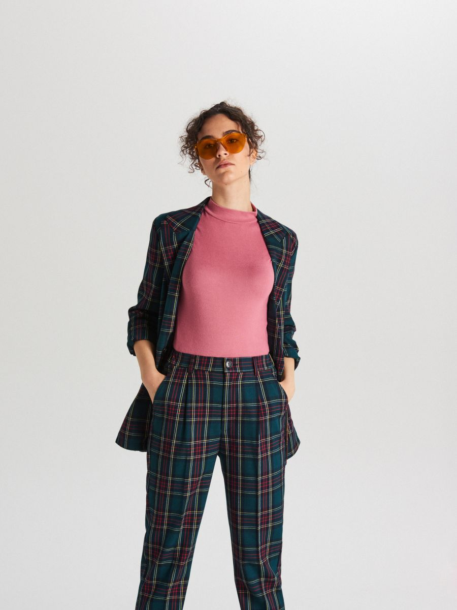 Plain turtle-neck blouse - BURGUNDROT - WH187-83X - Cropp - 1