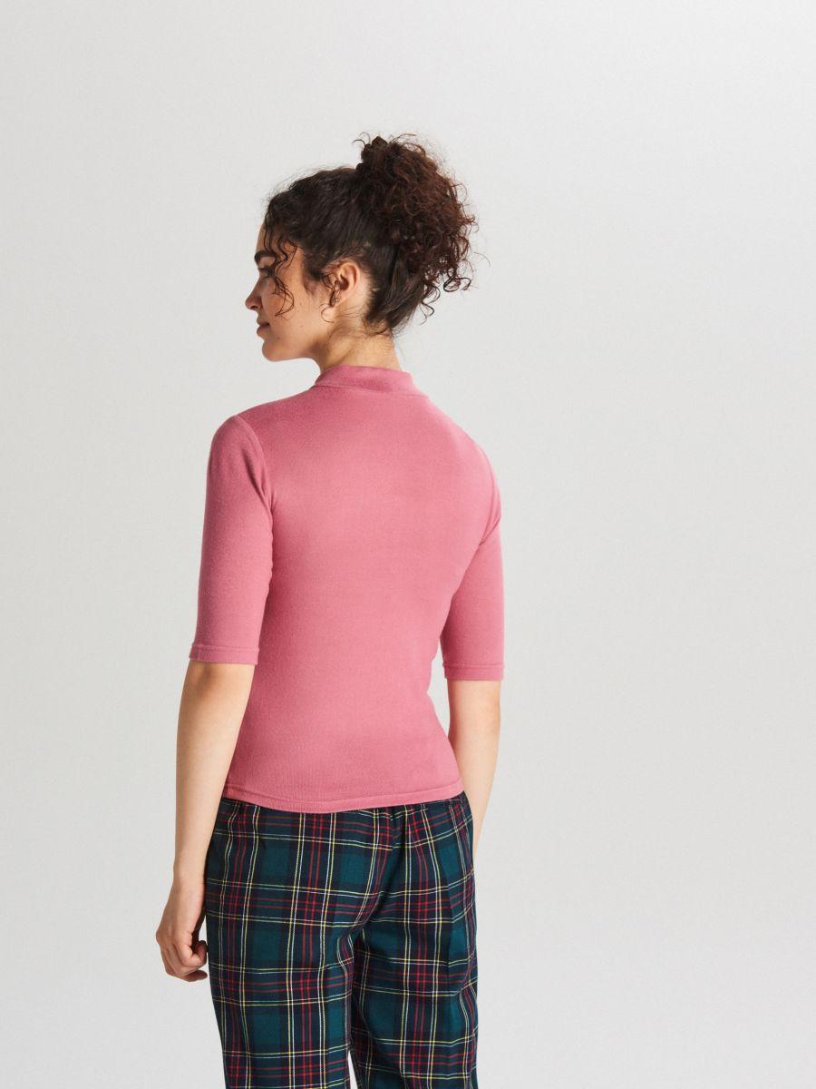 Plain turtle-neck blouse - BURGUNDROT - WH187-83X - Cropp - 2