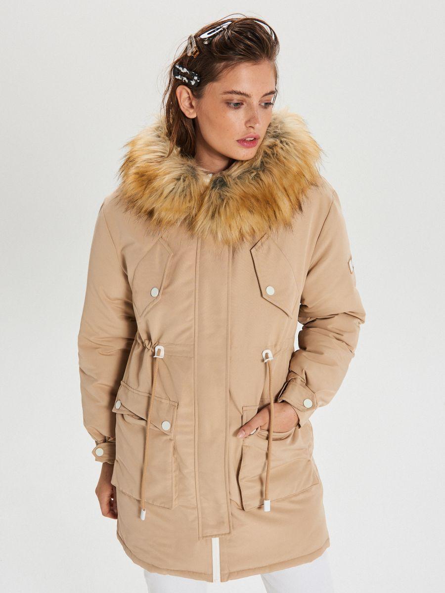 Jacket with detachable eco faux fur - BEIGE - WS140-08X - Cropp - 1