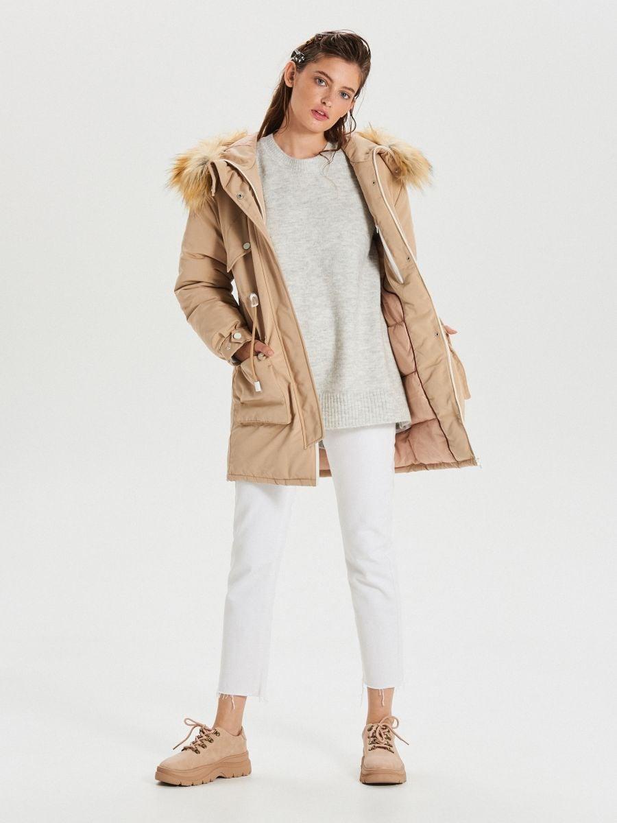 Jacket with detachable eco faux fur - BEIGE - WS140-08X - Cropp - 2