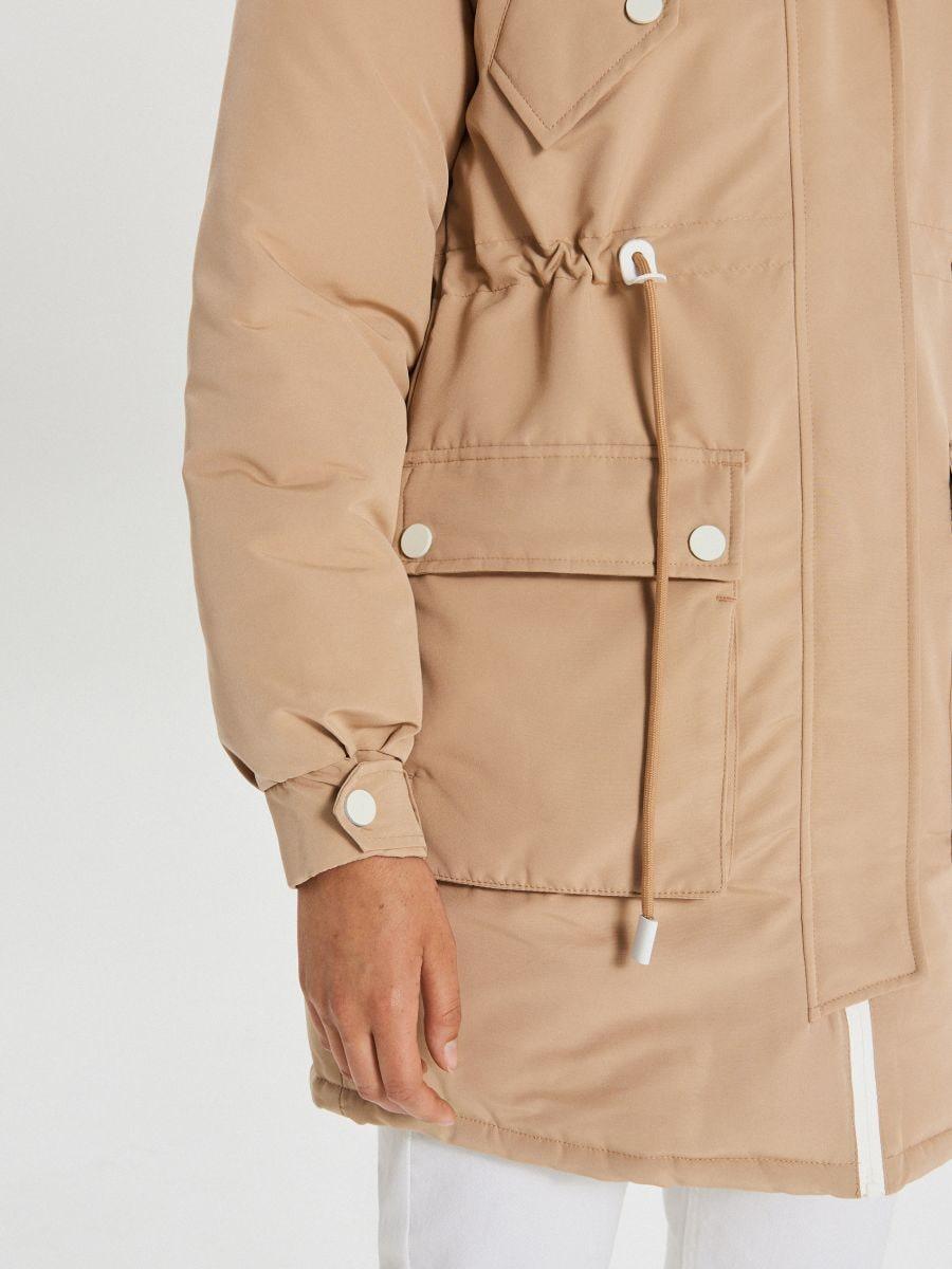 Jacket with detachable eco faux fur - BEIGE - WS140-08X - Cropp - 6