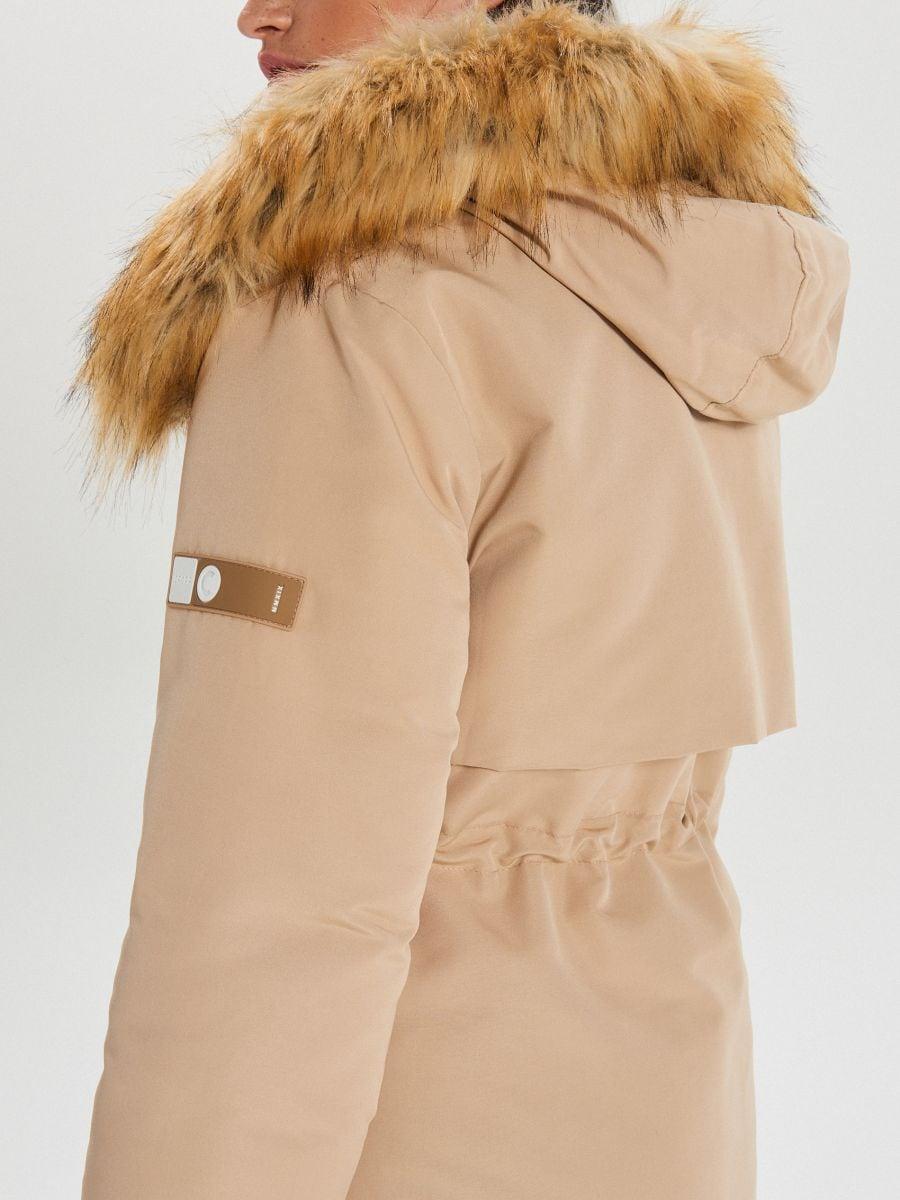Jacket with detachable eco faux fur - BEIGE - WS140-08X - Cropp - 7